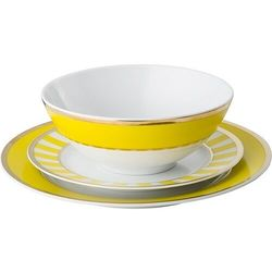 Zestaw obiadowy stripes żółty 3 el.