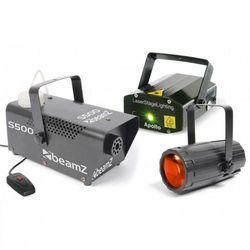 Beamz Light Package 3 zestaw efektów oświetleniowych disco maszyna do efektów świetlnych laser wytwornica mgły