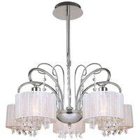 Lampy sufitowe, Dekoracyjna LAMPA wisząca SPAN MDM1583/5 Italux abażurowa OPRAWA kryształki nowoczesny ŻYRANDOL glamour ogranza chrom biała