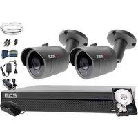 Zestawy monitoringowe, Zestaw AHD, 4x Kamera FullHD/IR30, Rejestrator 4ch BCS-XVR0401, 1TB, akcesoria