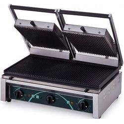 Grill elektryczny kontaktowy panini podwójny 220+220x260/520x280 mm | 4 płyty ryflowane
