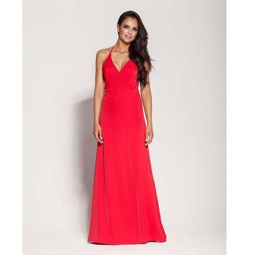 Suknie i sukienki, Czerwona Elegancka Długa Sukienka Wiązana na Szyi