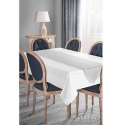 Elegancki obrus plamoodporny SUE-4 z szarfą 140x180 EUROFIRANY biały/ srebrny