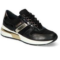 Damskie obuwie sportowe, Sneakersy Carinii B5789-E50-H20-037-E11 Czarne/Złote lakier+zamsz