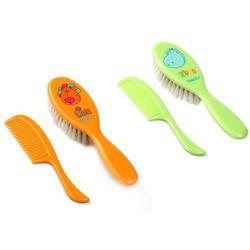 BabyOno Szczoteczka z naturalnym miękkim włosiem + grzebyk 563: Kolor - Pomarańczowy