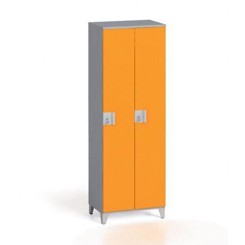 Szafki do przebieralni, Szafa dwuczęściowa 1750 x 600 x 400 mm, szary/pomarańczowy