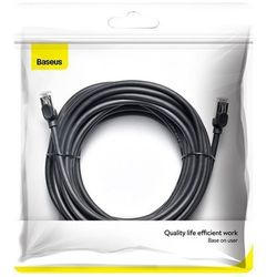 Baseus kabel przewód internetowy Ethernet patchcord RJ45 Cat 6 UTP 1000Mbps 10 m czarny (PCWL-J01) - 10 \ Czarny