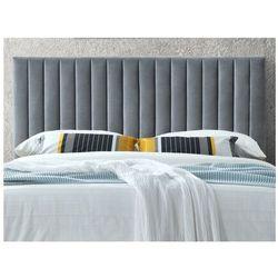 Zagłówek łóżka z pionowymi szwami AGENORE - Tkanina imitująca welur - 160 cm - Kolor szary antracyt