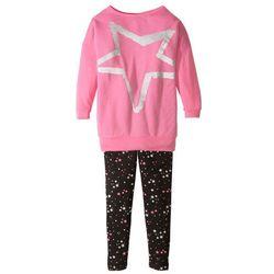 Długa koszulka + legginsy (2 części) bonprix matowy różowy + czarny
