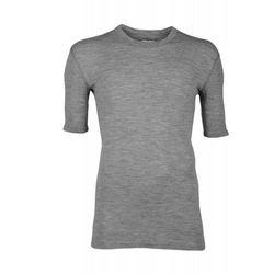 Koszulka męska z wełny merynosów (100%) - krótkie rękawy - szara - DILLING