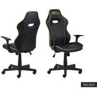 Fotele dla graczy, SELSEY Fotel gamingowy Nauders czarno-zielony