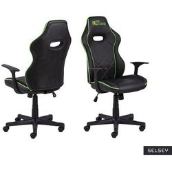 SELSEY Fotel gamingowy Nauders czarno-zielony
