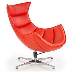 Skórzany obrotowy fotel wypoczynkowy Lavos - czerwony