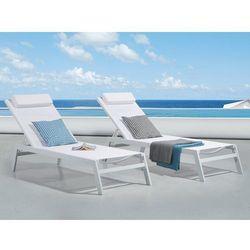 Leżak ogrodowy biały - plażowy - basenowy - CATANIA II