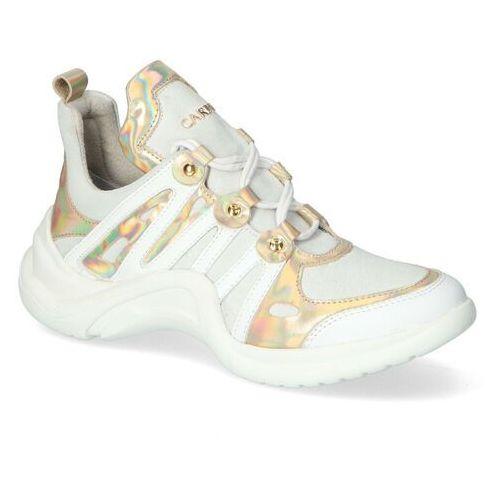 Damskie obuwie sportowe, Sneakersy Carinii B6021-L46-G24-N66 Białe/Tęczowe Lico+Zamsz