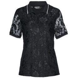Shirt polo z koronki bonprix czarno-biały