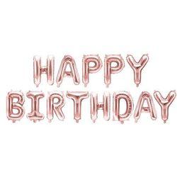 """Balon foliowy """"Happy Birthday"""", różowe złoto, PartyDeco, zestaw"""