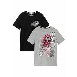 T-shirt chłopięcy (2 szt.), bawełna organiczna bonprix czarno-jasnoszary melanż
