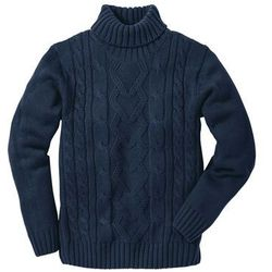 Sweter z golfem bonprix ciemnoniebieski