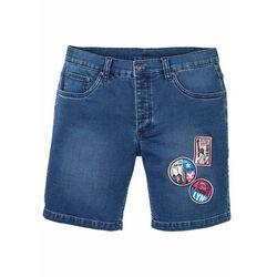 """Długie szorty dżinsowe dresowe z aplikacjami, Slim Fit bonprix niebieski """"stone"""