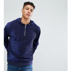 ASOS TALL Oversized Velour Striped Hoodie With Half Zip - Navy