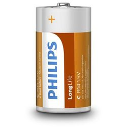 2 x bateria cynkowo-węglowa Philips LongLife R14 C (taca)