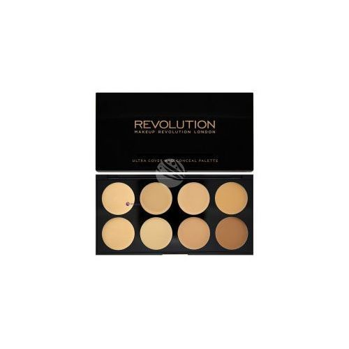 Korektory do twarzy, Makeup Revolution Ultra Cover & Conceal Palette (W) paleta 8 kremowych korektorów Light Medium 10g