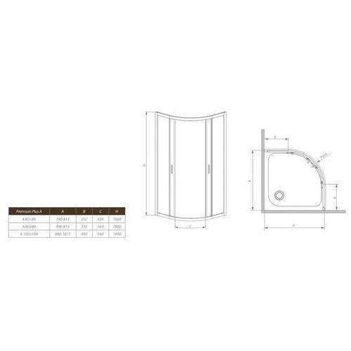 Kabiny prysznicowe, Radaway Premium plus 85 x 85 (30420-01-01N)