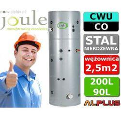 JOULE CYCLONE do pompy ciepła 200L / 90L TANK-ON-TANK nierdzewny zbiornik na zbiorniku, bojler 200 litrów z wężownicą do pompy ciepła 2,5m2 i buforem 90 litrów, aż 2 grzałki 3kW, 170cm x 60cm, wysyłka gratis