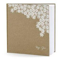 Księga gości weselnych brązowa z białym wzorem - 22 kartki