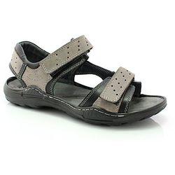 KENT 295 SZARY-CZARNY - Męskie skórzane sandały - Szary ||Czarny DZIEŃ CZEKOLADY - 20% (-25%)