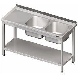 Stół ze zlewem dwukomorowym z prawej strony z półką 1500x600x850 mm | STALGAST, 980826150