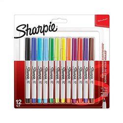 Markery Permanentne Sharpie 12 Kolorów Ultra Fine
