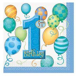 Serwetki na roczek 1st Birthday Baloniki Blue - 33x33 cm - 16 szt