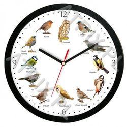 Zegar z głosami ptaków plastik czarny #2