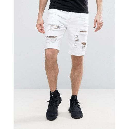 Pozostała odzież męska, ASOS Denim Shorts In Slim Fit With Heavy Rips In White - White