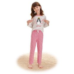 Dziewczęca piżama Maja czerwona niedźwiedź i płatki śniegu