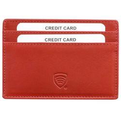 Damskie Skórzane Etui Karty Płatnicze Zbliżeniowe Zabezpiecza Czerwony - Czerwony