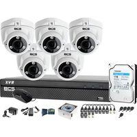 Zestawy monitoringowe, Zestaw do monitoringu BCS-XVR0801 5x Kamera BCS-DMQE3200IR3-B Dysk 1TB Akcesoria