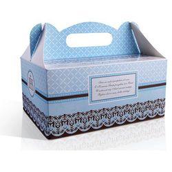 Pudełka na ciasto komunijne z podziękowaniem niebieskie PUDCS6B / 1szt rabat 7%