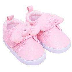 Buciki dziewczęce brokatowe z kokardką różowe 0-6 miesięcy