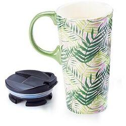 Duży kubek TROPICAL z pokrywką to go – porcelanowe naczynie na wynos, letni motyw, idealny letni prezent dla przyjaciółki koleżanki