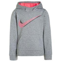 Nike Performance THERMA GFX2 Bluza z kapturem dark grey heather/racer pink
