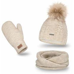 Komplet PaMaMi, czapka, komin i rękawiczki - Beżowy