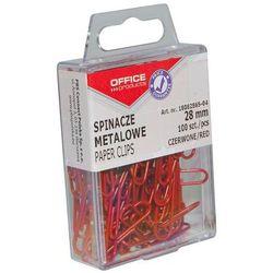 Spinacze kolorowe OFFICE PRODUCTS, powlekane, 28mm, w pudełku, 100szt., czerwony