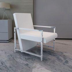 vidaXL Fotel z chromowaną ramą i obiciem ze skóry syntetycznej, biały Darmowa wysyłka i zwroty
