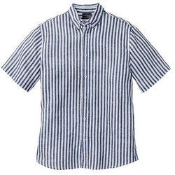 Koszula lniana z krótkim rękawem Regular Fit bonprix ciemnoniebiesko-biały w paski