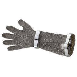 Rękawica metalowa z białymi paskami, bardzo długa, rozmiar S | GIESSER, 9590 19