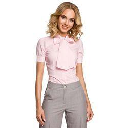 Koszulowa Bluzka w Kratkę z Kokardą pod Szyją - Różowy