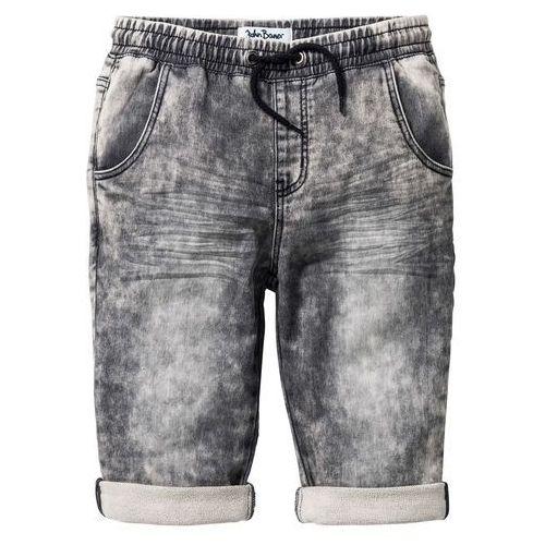 Krótkie spodenki dziecięce, Bermudy dresowe w optyce dżinsowych bonprix czarny denim